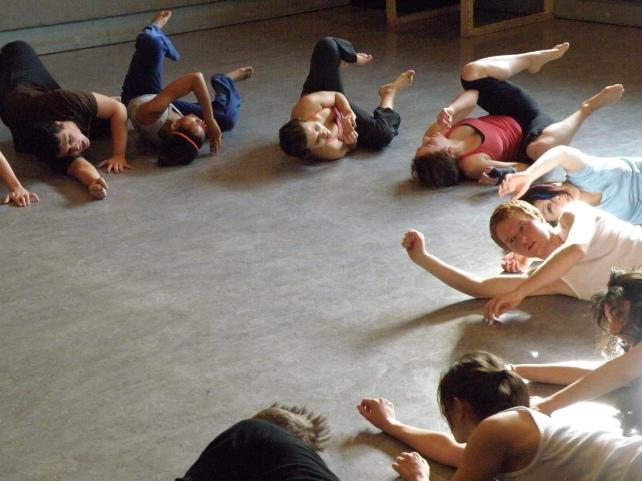 Students in Gwen Dobie's movement class; actors (clockwise): Enzo Voci, Joella Crichton, Julie Nolke, Nathalie Novak, Rong Fu, Jeffrey Roel, Lina Di Maria, Vera Kostiuk