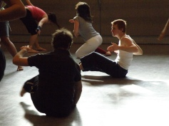 Students in Gwen Dobie's movement class; actors: Nathalie Novak, Josh Dolphin, Lina DiMaria, Jeffrey Roel