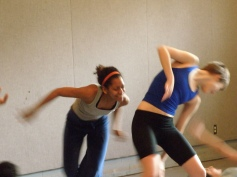 Students in Gwen Dobie's movement class; actors: Joella Crichton, Astrea Campbell-Cobb,