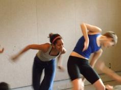 Students in Gwen Dobie's movement class; actors: Joella Crichton, Astrea Campbell-Cobb,